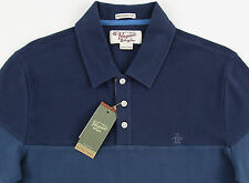 Men's PENGUIN Blue & Gray Polo Shirt Large L NWT NEW Heritage Slim Fit Nice!