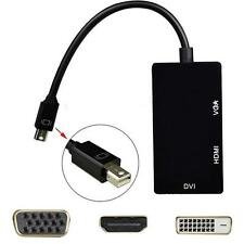 Nero 3 in 1 Mini Displayport DP a DVI+VGA+HDMI Adattatore per MacBook Pro