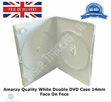 5 Double White DVD Case 14 mm Spine Replacement Holds 2 Disks Amaray Quality