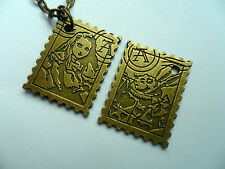 Unusual Vintage Style Alice in Wonderland Double Sided Stamp Bronze Necklace