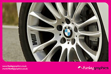 BMW M SPORT SYMBOL LOGO ALLOY WHEEL DECALS STICKERS GRAPHICS x5 IN BLACK VINYL