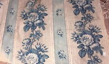 French Antique c1870 Blue Rose Old Chintz Fabric Textile~Quilters,Home Dec
