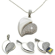 Crystal Asymmetric Heart Shape Jewelry USB Flash Drive with Necklace:8GB(silver)