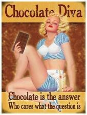 Chocolate Diva, 50's Pinup Funny/Humorous, Picture Plaque Mini Metal/Steel Sign