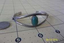 Vintage Navajo Sterling Silver Old Pawn Stamped Green  Cuff Bracelet