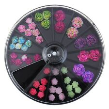 3D Rose Flower Nail Art Charms Beads Colorful Resin Nail Tips Manicure Wheel