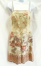 KAY UNGER Womens Tan Brown Red Beaded Spaghetti Strap Floral Formal Dress 2 XS