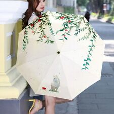 New Women Rain Umbrellas 3 Folding Compact Parasol Anti UV Cute Cat Umrella