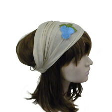 Wide Cotton Light Tan Head Wrap Womens Headband w/Grape Applique Yoga Hairband