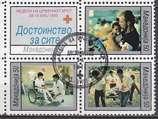 MACEDONIA 1993 used SC# POSTAL TAX STAMPS - RA32 - RA35a  Red Cross Week