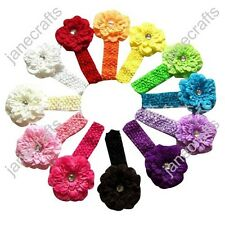 12pcs Baby Toddler Girl Crochet Headbands Hair Band Bow with Peony Flower Clip