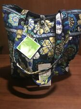 NWT*VERA BRADLEY BLUE FLOWER TOTE *Toggle Handbag*Organizer Pocket*12.5 x 14 FS