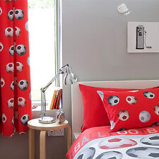 Catherine Lansfield Kids Football Pencil Pleat Curtains, Red, 66 x 72 Inch