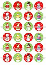 24 Snowmen Snowman Christmas Iced Icing Cupcake Topper Edible Fairy Cake Toppers