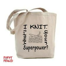 Knitting Tote Bag, I Knit, What's Your Superpower? Shopping Bag, Bag For Life.
