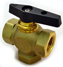 "Brass Ball Valve, 3 Way, Female NPT 3/8"", Lead Free, Panel Mount Option"