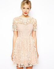 ASOS pink lace skater dress with ribbon tie back detail size 16 BNWT