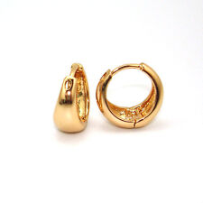18k Yellow Gold Filled Earrings Womens 14mm Smooth Hoop GF Charm Costume Jewelry