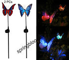 2 x Solar Power Fibre Optical Butterfly RGB LED Color Changing Light Garden Lamp
