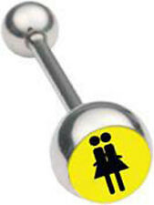 Pride Shack - Double Girl Lesbian Pride Tongue Ring Barbell (Body Jewelry)