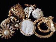 Vintage Gold Damascene Drum Flower Spain Unicorn Trifari Fruit Brooch Pin Lot