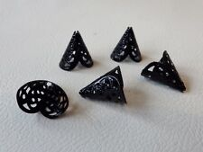 BNCBC01Black: 20 x True Black Plated Filigree Cone Bead End Caps