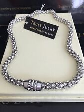 Luxurious Designer Diamanté Silver Necklace With Magnetic Fastening