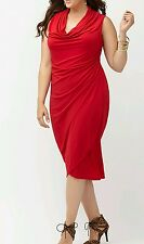 HOT LANE BRYANT WOMEN'S PLUS SIZE SLEEVELESS COWL NECK RED DRESS Sz 22/24