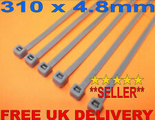 100 x Silver Cable Ties 310 x 4.8mm Extra Long ~ Wheel Trim Security ~ Trims