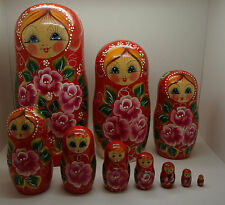 Russian Matryoshka Handmade Nesting Doll (10 pieces)