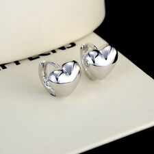 18k White Gold Filled Smooth Heart Earrings Wedding Hoop GF Lovely Jewelry NEW