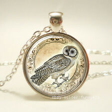 Vintage Desert Owl Cabochon Silver plated Glass Chain Pendant Necklace #47
