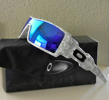 NIB Oakley Polarized Oil Rig Sunglasses White Text Frames w/Polarized Blue Lens