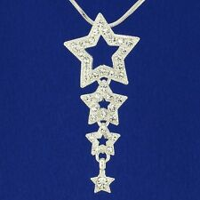 "Star W Swarovski Crystal Dainty 3 Wish Stars Pendant Necklace 18"" Chain Gift"