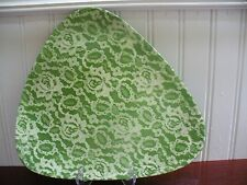 Vintage Lisbet of South Cairo New York Pottery Green Rose Lace Accent Dish