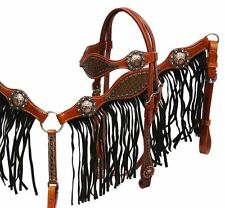 WESTERN SADDLE HORSE BRIDLE BREAST COLLAR PLATE SET W/ BROWN LEATHER FRINGE