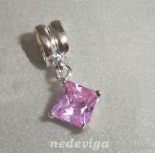 925 Sterling Silber Bead Charm Anhänger Dangle Quadrat Zirkonia rosa + Etui