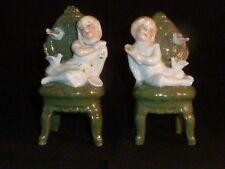 Very Rare Antique Conta & Boehme Pair of Fairings, Seated Boy & Girl, 1880-1900