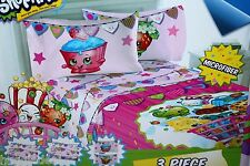 SHOPKINS MICROFIBER 3 PIECE TWIN BED SHEET SET GIRLS BEDSHEET