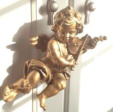 Rococo Cherub Putto Violin Gold Gilt Baroque Renaissance Figure Wing Child Chic