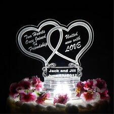 Double Heart Lighted Wedding CakeTopper Acrylic Cake Top Personalized Engraved