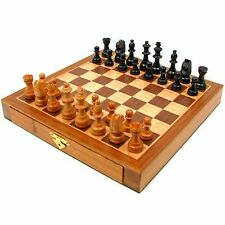 Wood Chess Set With Staunton Wood Chessmen With Storage Drawers By Trademark