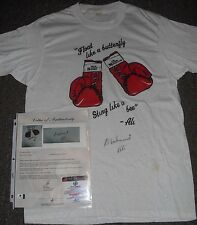 Muhammad Ali SIGNED DREW BUNDINI BROWN T-SHIRT GLOBAL LOA EXTREMELY RARE
