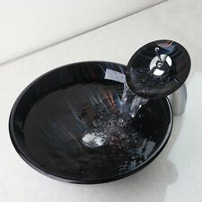 Round Bathroom Tempered Glass Black Basin Vessel Sink Bowl Faucet Combo