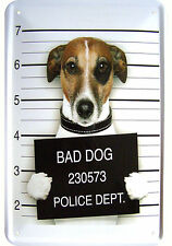 """BAD DOG"" WITZIGES JACK RUSSELL TERRIER GANGSTER MOTIV DEKO BLECHSCHILD TIN SIGN"