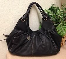 Authentic Rabeanco Black Pebble Leather Slouchy Shoulder Handbag Hobo Bag NWOT