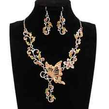 Farfalla Strass SET GIALLO Marrone Collier Orecchini Accessori da sposa