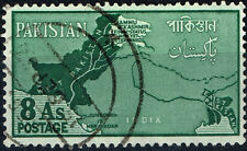East, West Pakistan, Kashmir detailed country map stamp 1955