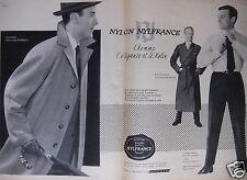 PUBLICITÉ 1958 NYLON NYLFRANCE L'HOMME L'ÉLÉGANCE - ADVERTISING