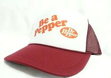 Dr. Pepper Trucker Hat Mesh Hat Snap Back Hat maroon aution